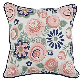 Almohada de lanzamiento de tela con patrón floral tejido e impreso, azul
