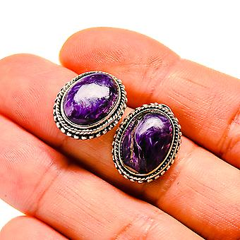 "Charoite Earrings 3/4"" (925 Sterling Silver)  - Handmade Boho Vintage Jewelry EARR411134"