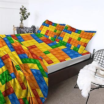 Print Bed Sheets Game Microfiber Sheet Set Dot Building Blocks Toy