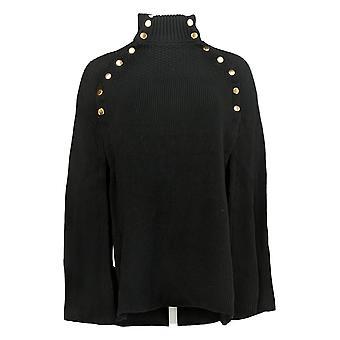 G.I.L.I. Got It Love It Women's Sweater Cape Button Black A368018