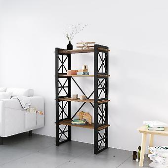 Bibliothèque noire d'étoile, bois en métal, chipboard de melamine, L70xP35xA150 cm, L62xP29xA34.5 cm