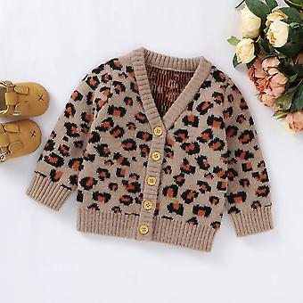 Baby Clothes Leopard Print Sweater V-neck Button-up Knitted Tops