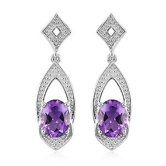 Drop Dangle Earrings for Womens in Platinum Plated Silver with Amethyst