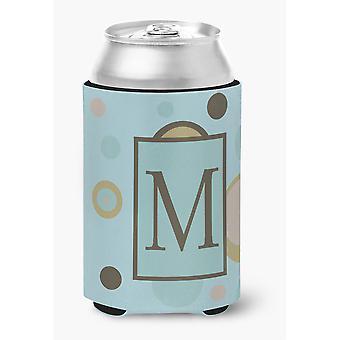 Buchstaben M ersten Monogramm - Blue Dots Dose oder Flasche Getränk Isolator Hugger