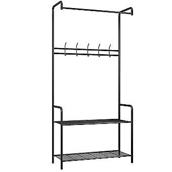 Étagère avec 2 couches de compartiments de rangement, crochet-sur le plancher-monté le support de stockage de maille, meubles pratiques autonomes de petite chambre à coucher