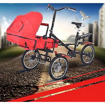Folding Tricycle, Parent Child Bike 2 Baby Stroller Bike