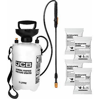 JCB Garden 4 X 100ml Path & Patio Cleaner Sachets 5L Pressure Sprayer