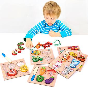 Educación madera Montessori juguetes niños ocupados tabla jigsaw niños de madera preescolar Montessori juguete