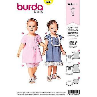 Burda Sewing Pattern 9339 Toddler Girls Dress Top Pants Size 6M-3 Euro 68-98