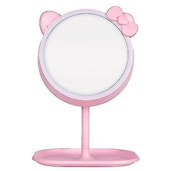 Espelho دي maquiagem دي جاتو روزا com espelhos أدى espelho دي pé espelho دي ميسا دي luz ajustável espelho de vaidade de tela de