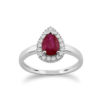Klassische Birne Rubin & Diamant Cluster Ring in 9ct Weißgold 117R0164029