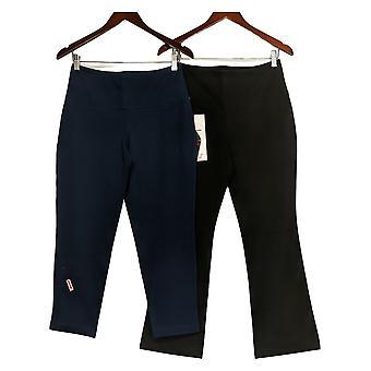 Women With Control Women's Petite Pants Tummy Control Set Of 2 Black A367939