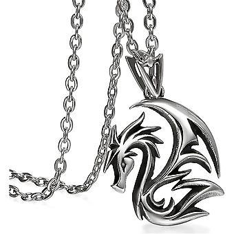 HanFei Drachen Halskette Herren Gothic Drache Kette Anhnger Edelstahl 55cm fr Jungen Mnner, Silber