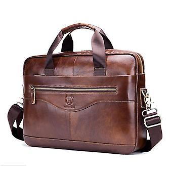 Men Briefcase, Shoulder Bag, Genuine Leather Business Bag