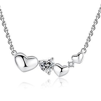 GemShadow women's silver Sterling 925 heart-shaped with zircon necklace