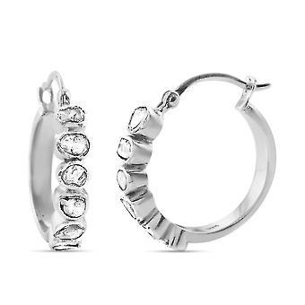 TJC White Diamond Hoop Earrings Sterling Silver 0.5ct