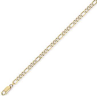 Jewelco لندن 9ct الذهب الأصفر - جودة متميزة 3+1 فيجارو قلادة قلادة قلادة - قياس 2.9mm