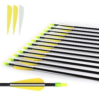 8Mm fiberglass arrow plastic feather nock steel arrowhead recurve bow practice arrow shooting archery bow arrow pl-1246