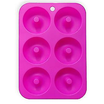 Rose red silicone donut mold for 6 full-size donutsbagels and more x7445