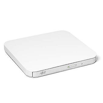 Hitachi-LG GP90NW70 External DVD Drive USB 2.0 Ultra Slim Portable DVD-RW CD ROM Rewriter for Laptop Desktop PC Windows and Mac OS with TV Connectivity - White