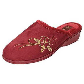 JWF Wedge Heel Mule Slippers Clogs Red
