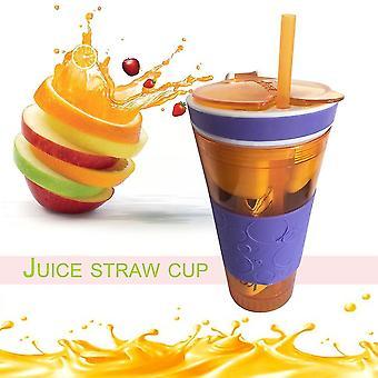 2 In 1 Milchshake Fruchtsaft Rühren Flasche Obst Trinkflasche mit Stroh