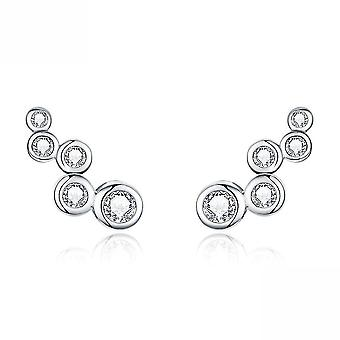 Ear Studs Circle S925 Simple Rhinestone Platinum Plated Earrings For Party