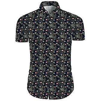 Mens 2 Pieces 3d Floral Print Casual Button Down Short Sleeve Hawaiian Shirt And Shorts Set In