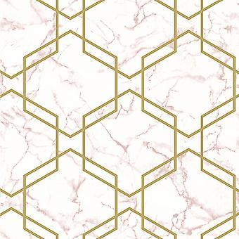Holden Decor Fantasia Hexagon Geo Pink Gold Bakgrunn 90711