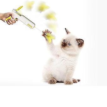 مضحك لعبة القط التفاعلية مع ريشة الكرة القط عصا بندقية للقطط الجراء الحيوانات الأليفة (الأصفر)