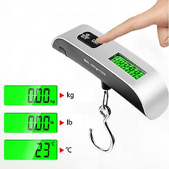 Household Portable Electronic Scale 50kg/110lb Weighing Luggage Scales Lcd Digital Kitchen Scales Mini Hook Scale With Temperature Display