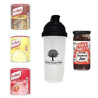 Seven Trees Farm Kit met 5 producten | 1 x Choco, 1 x Banana, 1 x Strawberry Shakes, 1 x Shaker en 1 x Strawberry Jam, Wees mager en gezond!