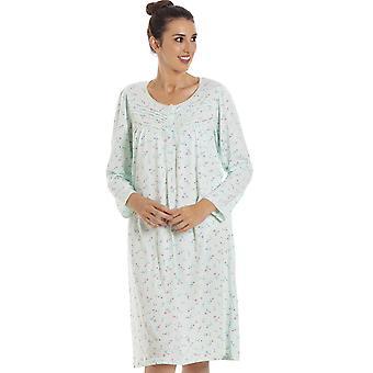 Camille Женская классика Джерси с длинным рукавом Мята Зеленый Цветочный ночной платье