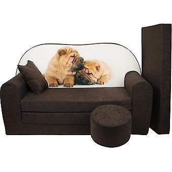 Set divano letto per bambini - materasso per gli ospiti - divano - 170 x 100 x 8 - divano letto - marrone - cuccioli