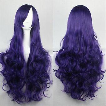 (Purple) Woman Long Curly Wigs Cosplay Halloween Costume Anime Hairs Wavy Full Wig Hair