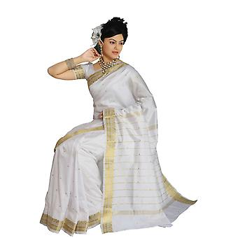 Blanco arte seda sari Sari tela India oro frontera