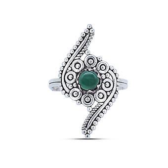 Ring Silver 925 Sterling Silver Green Onyx Green Stone (Nr: MRI 173)