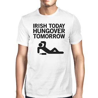 Irlandzkich mężczyzn dziś kaca biały T-shirt śmieszne Tee St Patrick's Day