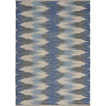 3' x 4' Blue and Cream Ikat Pattern Area Rug