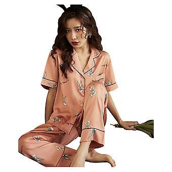 Damen Eis Seide Pyjamas Sommer neue Satin kurzärmelige Bugs Bunny Home Service Anzug