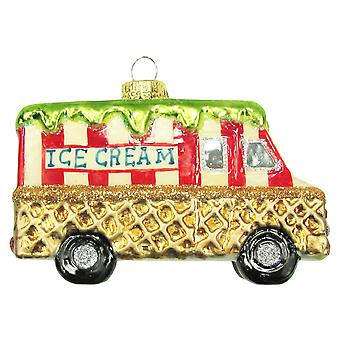 Ice Cream Truck Hand Dipped Waffle Cone Christmas Holiday Glass Ornament
