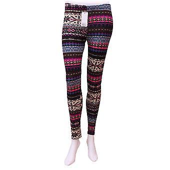 Dark Multicolored Aztec Pattern Warm Legging UK SIZE S