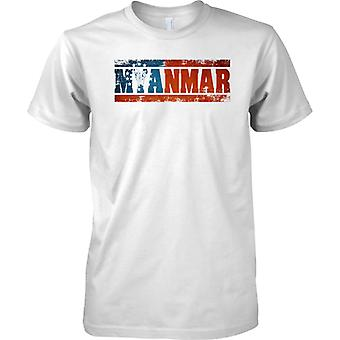 Efecto bandera de Myanmar Grunge país nombre - para hombre T Shirt
