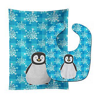 Каролинских сокровища BB6771STBU Пингвин ребенок нагрудник & Берп Ткань