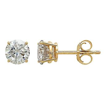 Synthetic Moissanite Solitaire Earrings 0.88 Carat (5.0mm) 14K Yellow Gold (1Ct Diamond Look)