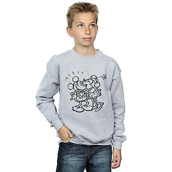 Disney Boys Mickey And Minnie Mouse Kiss Sketch Sweatshirt