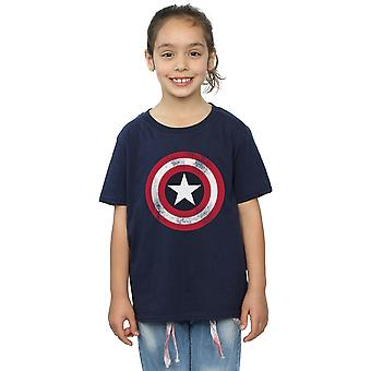 Marvel Girls Avengers Captain America Distressed Shield T-Shirt