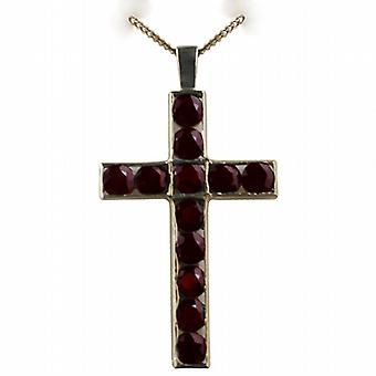9ct Gold 45x29mm Apostle's Cross set with 12 Garnets with a curb Chain 24 inches