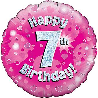 Oaktree 18 Inch Happy 7th Birthday Pink Holographic Balloon