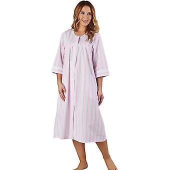 Slenderella HC1226 Women's Stripe Seersucker Pink Dressing Gown Loungewear Bath Robe 3/4 Length Sleeve Robe
